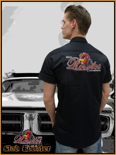 MAD ROOSTER Workerhemd Logo Rockabilly black