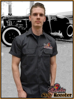 MAD ROOSTER Workerhemd Rockabilly Logo grey
