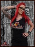 MAD ROOSTER Logo V-Neck Girly Shirt black
